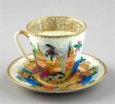 Picture of Blue Lake Cup and Saucer.  Imperial Porcelain Factory.Russia.