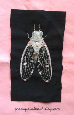 Cute Cicada Bug Insect Hand Embroidered by ProdigiousTrash on Etsy