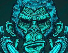 New Work, Adobe Illustrator, Monkey, Digital Art, Lion Sculpture, Behance, Photoshop, Statue, Gallery