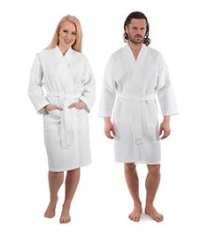 199ae55ea8 Luxury Waffle Weave Bathrobe - Spa and Hotel Quality Robe for Men and Women  - Made with Turkish Cotton White s m