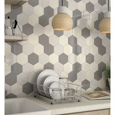 Looking for Colourful Hexagonal Tiles in Ireland? At The Italian Tile and Stone Studio in Terenure and Swords we have Hexagonal Tiles in 10 Colours and 2 finishes Kitchen Wall Tiles, Ceramic Wall Tiles, Kitchen Backsplash, Kitchen Interior, Kitchen Decor, Kitchen Design, Modern Interior, Interior Design, Hexagon Tiles