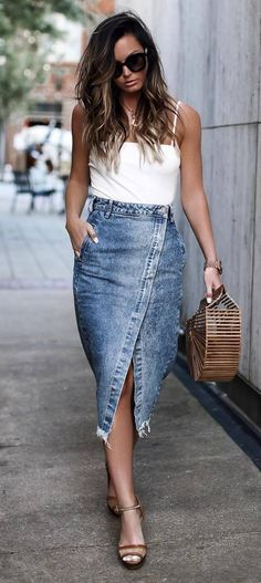 beautyful outfit idea : white top bag midi denim skirt sandals