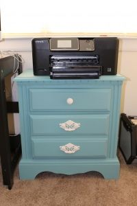 Nightstand Chalk Paint turned into printer stand