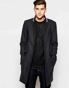 ASOS Wool Overcoat In Dark Grey