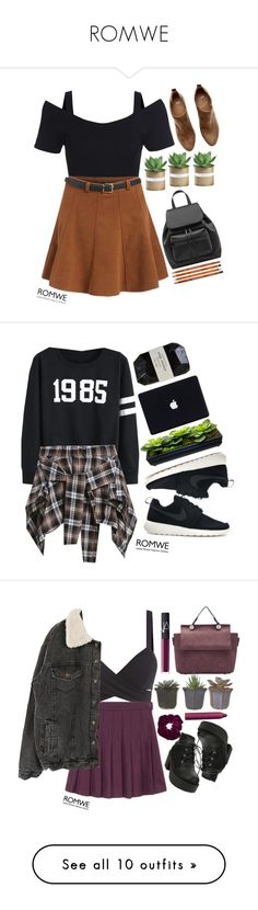 """""""ROMWE"""" by credentovideos ❤ liked on Polyvore featuring H&M, women's clothing, women's fashion, women, female, woman, misses, juniors, NIKE and Cassia"""