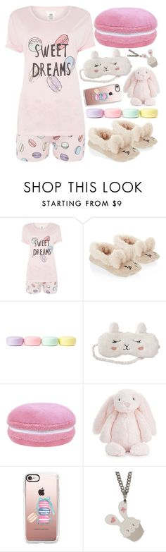 """Bunny Dreams"" by deedee-pekarik ❤ liked on Polyvore featuring Chelsea Peers, Accessorize, Forever 21, P.J. Salvage, Jellycat, Casetify, Sweet & Co., Bunny, pastel and pajamas"