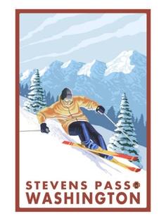 Downhhill Snow Skier, Stevens Pass, Washington Art Print
