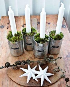 Decoración navideña con velas. Decoración original con velas para la mesa de Navidad. #mesasnavideñas #decoracionnavideña