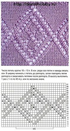 motifs ajourés avec des diamants - openwork motifs with diamonds - knitting… Lace Knitting Stitches, Lace Knitting Patterns, Knitting Charts, Lace Patterns, Stitch Patterns, Knit Edge, Couture, Points, Lace Border