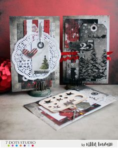 Easy cards using the December Memories kit by Riikka Kovasin for 7 Dots Studio