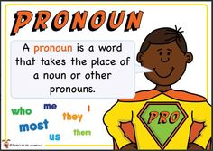 Pronoun. Superhero themed grammar resource for Literacy KS1 and KS2