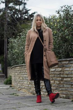 THE RED BOOT TREND UNDER £40 Boucle Coat, Next Red Ankle Boots, Next Bucket Bag, Next Vinyl Trousers, Missguided Jumper, Missguided