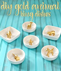 Want a cute dish to display your rings? How cute are these DIY Gold Animal Ring Dishes? Such a simple DIY!