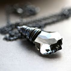 Gray Crystal Necklace Titanium Grey Black Diamond by GlitzGlitter