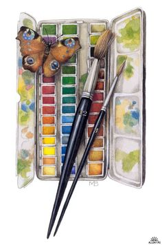 Lovely Watercolor Palette Painting By Marjolein Bastin Art Lessons, Art Painting, Art Tools, Nature Art, Marjolein Bastin, Art, Nature Artists, Watercolour Inspiration, Beautiful Art