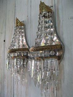 vintage crystal sconces