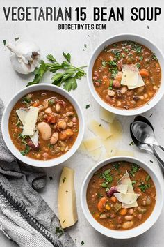 A variety of colors, fresh vegetables, and vibrant herbs and spices make this Vegetarian 15 Bean Soup flavorful, filling, AND incredibly good for you.