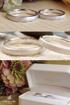 ストレートフォルムの結婚指輪。 男性と女性それぞれお好みのテクスチャでお仕立てしました。 [marriage,wedding,bridal,ring,Pt900,マリッジリング,オーダーメイド,ith,イズ]