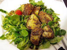 Mohnkartoffeln auf Salatbett