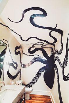 Octopus bathroom Acrylic paint