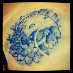 Skull and blossoms part zwei #tattoo #tattoos #art #sketch #draw #drawing #japanese #blossom #flower #skull #blue #pencil