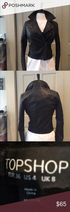 Topshop black moto jacket In amazing shape hardly worn. Topshop Jackets & Coats Utility Jackets