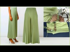 Diy Crafts - in this video i will show you Beautiful Pleated Palazzo pant cutting and stitching Step by step very method 🙋‍♂️Hello. Dress Neck Designs, Designs For Dresses, Sleeve Designs, Blouse Designs, Sewing Pants, Sewing Clothes, Diy Clothes, Clothes For Women, Girls Dresses Sewing