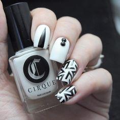 make-up, nails, nail polish, black, white