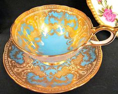 AYNSLEY tea cup and saucer ATHENS large wide mouth blue & 22kt gold teacup