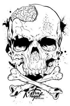 Right Side Brain - Ten Magat on Behance Skull Stencil, Tattoo Stencils, Skull Art, Dark Art Drawings, Cool Drawings, Tattoo Drawings, Skull Tattoos, Body Art Tattoos, Brain Drawing