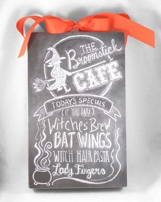 halloween primitives by kathy chalk art wooden box sign broomstick caf menu - Primitives By Kathy Halloween