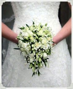 Dainty Teardrop Shaped Wedding Bouquet Featuring Green & White Tiny Spray Roses, Lily Of The Valley & Dark Green Foliage^^^^