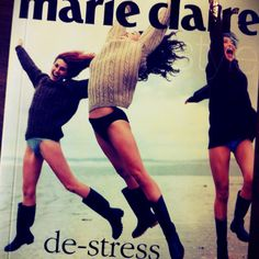 Marie Claire 'De-Stress' by Jane Campsie (found in a second hand book shop). Not sure why they're in their jerseys, undies & boots jumping around on the beach...