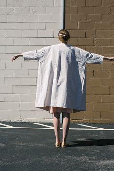 Cosmic Wonder Old White Canvas Kimono Coat