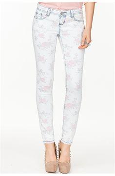 Bleach Wash Floral Skinny Jean