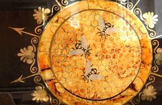 Water-gilded, gesso panel with raised design dkt artworks London England Fire Glass, Queen Bees, Painted Signs, Gold Leaf, Vintage World Maps, Artworks, Antiques, London England