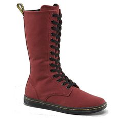 Dr. Martens Women's Battersea Cherry Red 14 Eyelet Canvas Boot Style: DMR15033600