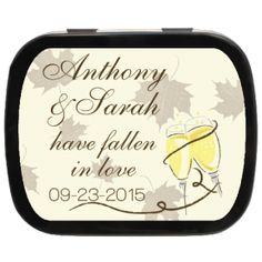 Fallen in Love Personalized Wedding Mint Tins, fall in love with our fall favors! #favors #wedding #unique