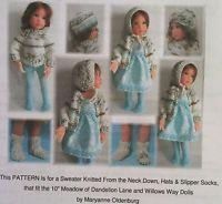 """10"""" Meadow OLDENBURG knitted sweater, 3 hats & slipper socks PATTERN"""