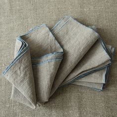 Hand Made Linen Napkin Natural Stone Blue with Baby Lock embroidery #linen #linennapkin #naturallinen #embroiderednapkin