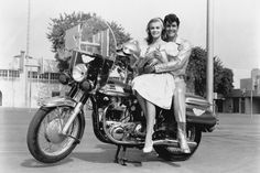 """Studio publicity shot of Ann Margret as Kim McAfee and Jesse Pearson as Conrad Birdie in the 1963 film """"Bye Bye Birdie"""" Bye Bye Birdie Movie, Biker Movies, Ann Margret Photos, Nostalgia, Musical Film, Turner Classic Movies, Retro Motorcycle, Columbia Pictures, Feature Film"""