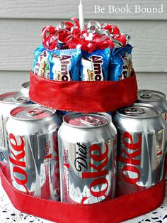 : A No-Bake Birthday Cake with their favorite soda and candy
