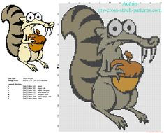 Scrat character from Ice Age free cross stitch pattern download