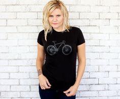 Mountain Bike Ladies Tshirt Hand Printed von CausticThreads auf Etsy