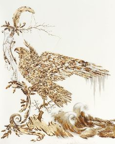 Endless Gathering Lull, 2008, metal leaf, corrosive, ink and pencil on paper. Gold Drawing by Sarah A. Smith
