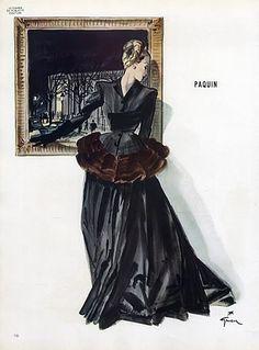 Paquin 1945  Evening Gown, René Gruau Evening Gown Fashion Illustration