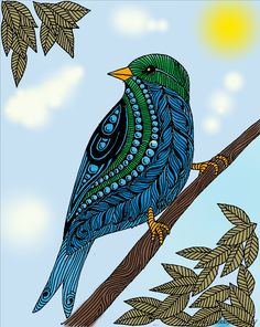 Doodle Art Drawing, Zentangle Drawings, Madhubani Art, Madhubani Painting, Art Drawings Sketches Simple, Bird Drawings, African Art Paintings, Posca Art, Mandala Art Lesson