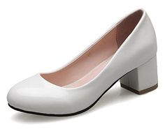 Sfnld Womens Cute Slip On Round Toe Low Cut Block Heel Pump White 85 BM US * Click image for more details.-It is an affiliate link to Amazon. #WeddingShoes
