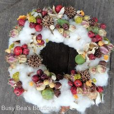Fall Cotton Boll WreathSweet Southern Comfort by BusyBeasBoutique