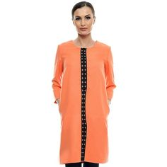 Rochie orange din stofa cu insertie din dantela RO82 de la Ama Fashion Duster Coat, Cover Up, Orange, Jackets, Color, Dresses, Fashion, Down Jackets, Vestidos